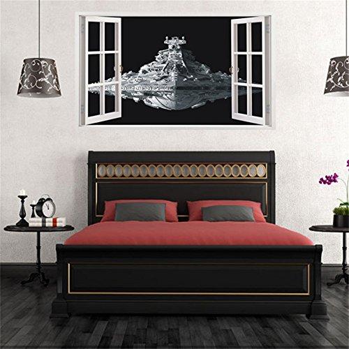 Nautische Außenwand (Etbotu Alien Raumschiff Wandaufkleber DIY Dreidimensionale Star Wars Wasserdichte abnehmbare Fenster Wandabziehbilder Dekor)