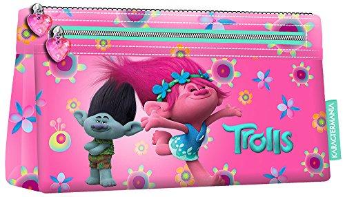 TROLLS Estuche portatodo Plano, Color Turquesa, 22 cm (Karactermanía 94248)