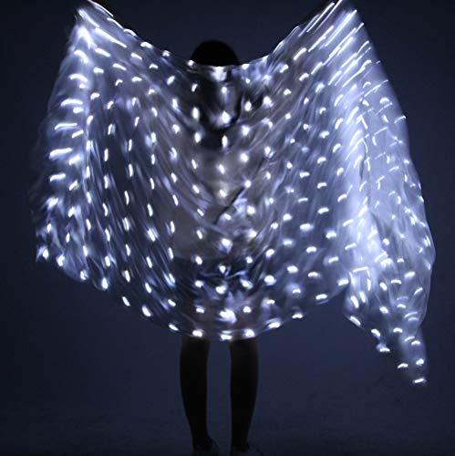 Rongg Bauchtanz Requisiten LED Seidenschal Tanz Performance Praxis Props Handwurf Schal Tanz LED Glühen Schal, 217cm*109cm