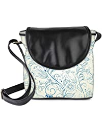 Snoogg Floral Hand Drawn Background Womens Sling Bag Small Size Tote Bag
