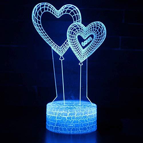 GUANGYING Luz nocturna Doble Corazón, Globo, Tema, Lámpara 3D, Luz Nocturna, Cambio De Color, 7, Toque, Humor, Lámpara, Presente Navideño