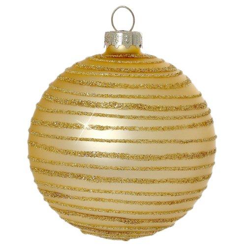 SIKORA Christbaumkugeln aus Glas mit moderner Verzierung / SCANDIC STRIPES / gold...