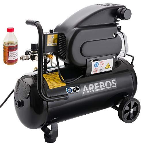 Arebos Kompressor / 1500 Watt / 24 Liter / 54,4 dB / 192 l/min/Euro Schnellkupplung/GS geprüft von TÜV Süd