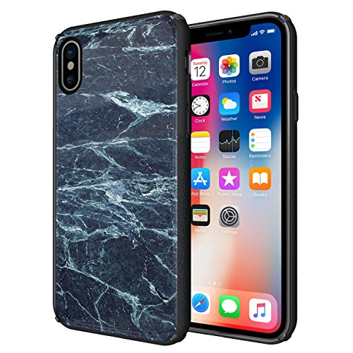 iPhone X stoßfest Fall, iPhone 10Marmor, Hart Schutzhülle Case Cover-Heavy Duty-kratzfestem Glas Fall für iPhone X, Schwarz und Blau 10 Harte Fälle