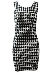 Online Fashion Store BLACK WHITE DOGTOOTH LONGLINE VEST DRESS TOP SIZE 6-16