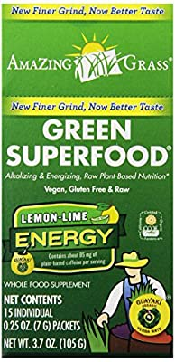 Amazing Grass, Green SuperFood, Lemon Lime Energy Drink Powder, 15 Individual Packets, 7 g Each by Amazing Grass