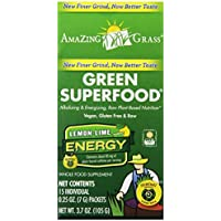 Amazing Grass, Green SuperFood, Lemon Lime Energy Drink Powder, 15