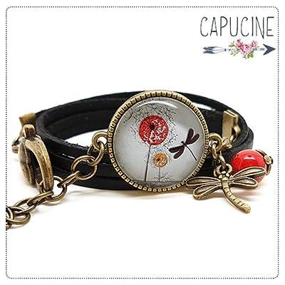 Bracelet 2 tours noir - Bracelet cabochon verre libellule - Bracelet breloques bronze - Les Fleurs au Vent