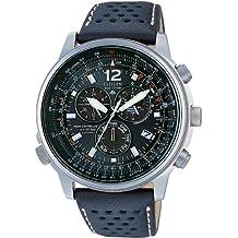 Citizen AS4020-36E - Reloj cronógrafo de cuarzo para hombre, correa de piel de borrego color negro