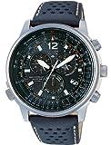Citizen Crono Pilot AS4020–36E–Armbanduhr mit Edelstahlgehäuse und Armband aus Leder, Herren
