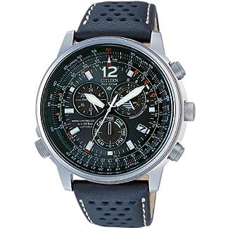Citizen AS4020-36E – Reloj cronógrafo de Cuarzo para Hombre, Correa de Piel de Borrego Color Negro