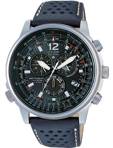 Citizen crono pilot as4020-36e - orologio da polso con cassa in acciaio,e cinturino pelle, uomo