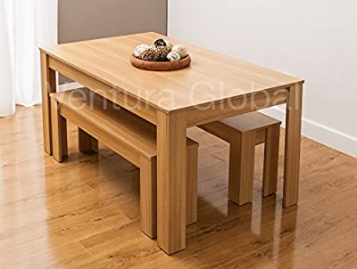 Dining Table with Faux Leather Chairs and Bench Oak Walnut Furniture Room Set by SMARTDESIGNFURNISHINGS® - low-cost UK light store.