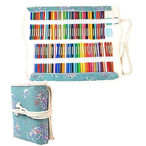 Damero Faltbare Stifterolle für 100 Buntstifte und Bleistifte, aus Canvas, Roll-up Mäppchen für Künstler, Verpackung (Tela Cassetti)