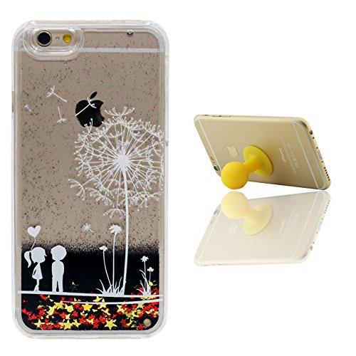 Schutzhülle Für Apple iPhone 6 6S 4.7 inch Hülle Cover Sterne Schwarz Sand Fließen Hart Transparent Flüssiges Wasser Gefieder Muster iPhone 6S Case mit 1 Silikon Halter color-1