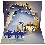Forever Cards - Biglietto natalizio popup, motivo: natività, tagliato al laser