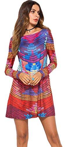 SZIVYSHI Langarm Rückenausschnitt Regenbogen Gestreift Gestreiftes Geometrisch Blockfarben Mini Minikleid Babydoll Hängerkleid Trapez Mutterschaft Kleid Rot Blau XL - Mutterschaft Braut-party Kleider