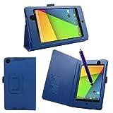 SAMRICK - Custodia a libro in pelle specialmente ideata per Asus Google Nexus 7 II, con supporto, proteggi schermo, panno in microfibra e pennino capacitivo Blu blu Nexus 7 II (2nd Gen)