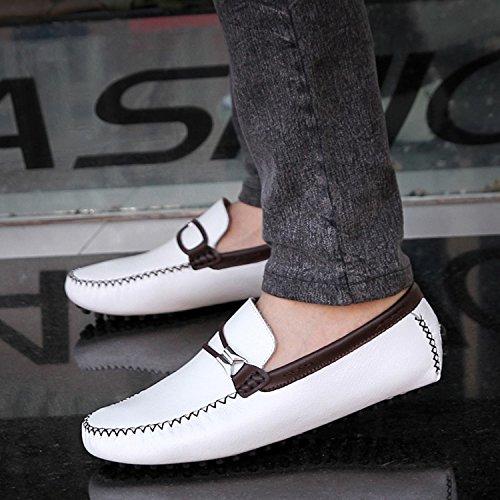 Icegrey Hommes Mocassins Cuir Passant Conduite Chaussures Flâneurs Blanc