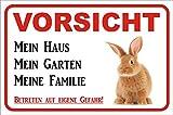 Schild Vorsicht Kaninchen / Hase - Mein Haus 15x20 oder 20x30cm (20x30cm)