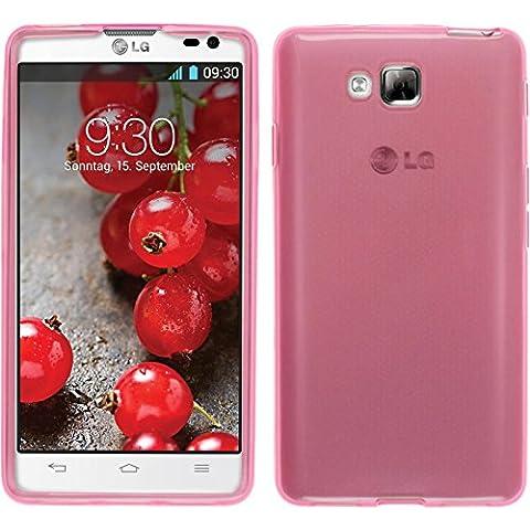 Funda de silicona para LG Optimus L9 II - transparente rosa - Cover PhoneNatic Cubierta + protector de pantalla