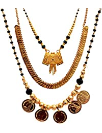 Mansiyaorange Combo Of One Gram Gold Party Wear Coin Golden Necklace Sets /Two Short Coin And Square Mangalsutra...