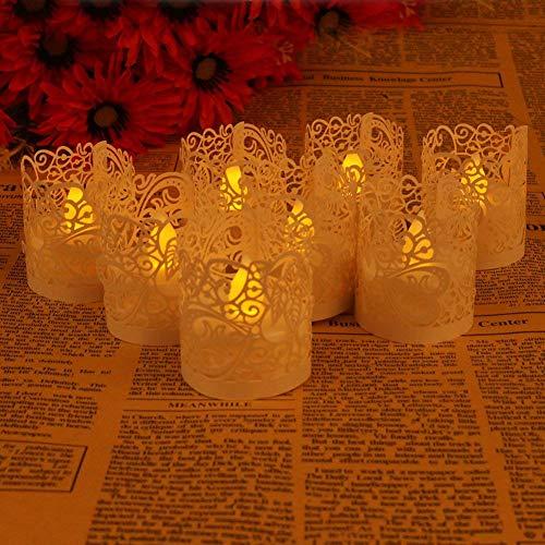 50pcs Brillante Papel lámpara luz luz de las velas té luz unidad paquete corte por láser tarjeta de embalaje decoración-decoración para hogar y jardín LED parpadeante vela