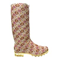 P355 Flowers Funky Womens Ladies Girls Wellies Wellie Boots Rain Snow Sizes 3, 4, 5, 6, 6.5 7 Pink
