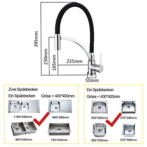 Homelody Schwarz Wasserhahn Küche Küchenarmatur Armatur Spüle Mischbatterie Einhebel Spültischarmatur Spiralfederarmatur -