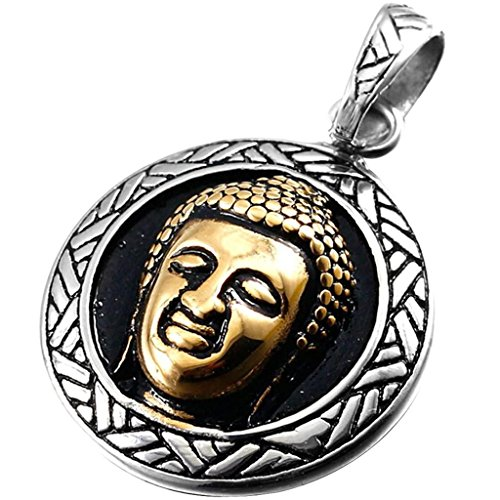Stainless-Steel-Buddhist-Buddha-Silver-Gold-Mens-Necklace-Chain-23-Inch-Aooaz-Jewellery