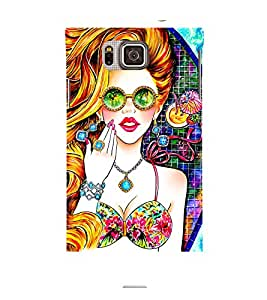 BEAUTIFUL GIRL WITH GOLDEN CURLY HAIR WEARING DIAMOND JEWELLERY AND REFLECTORS 3D Hard Polycarbonate Designer Back Case Cover for Samsung Galaxy Alpha G850