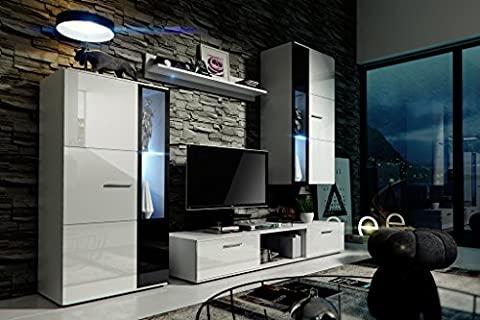 LIVIA Modern Living Room Furniture Set, Exclusive Entertainment Unit With Shelves, Brand New Suite, TV Stand / Cabinet / Shelf, Push To Open / Standard Handles Wall Cabinets, Mat / High Gloss, Black / White / More Colours, Free Delivery (RGB LED Lighting Available) (White MAT base / White HG front + Black inserts, White
