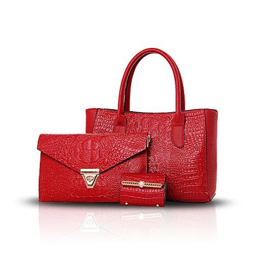 Sunas Il modello del coccodrillo di modo del sacchetto delle 2017 nuove donne ha rilievo 3 insiemi di borsa femminile + sacchetto del messaggero del sacchetto del sacchetto + della spalla vino rosso