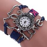 #8: Warmingecom Women Fashion Love Heart Braid Winding Wrap Bracelet Watch(Blue)