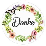 72 DANKE Aufkleber Sticker - Ideal für Geburtstag, Hochzeit, Weihnachten - 38 x 38 mm - Rosa, Weiß - Blumen