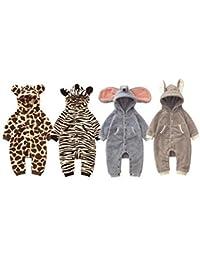 Baby Strampler Kuschel Tiere 'Fleece' | Babystrampler langarm | Giraffe, Zebra, Elefant, Hase