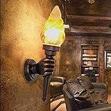 Tritow Amerikanische Retro Wandleuchte Kreative Bar Restaurant Dekoration Cafe Gang Fackel Licht Außenwandleuchte Wandleuchte (Größe : Right Hand)