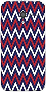 Snoogg Blue Red Pattern 2541 Case Cover For Motorola X / Moto X 2Nd Generation