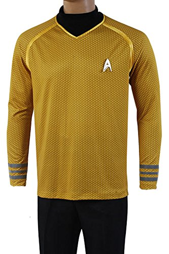 Fuman Star Trek Uniform Captain Kirk Shirt Cosplay Kostüm Gelb (Kostüme Trek Star)