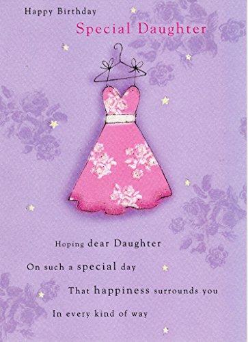 Special Daughter Second Nature-Biglietto di auguri di compleanno biglietti Flittered Glitter