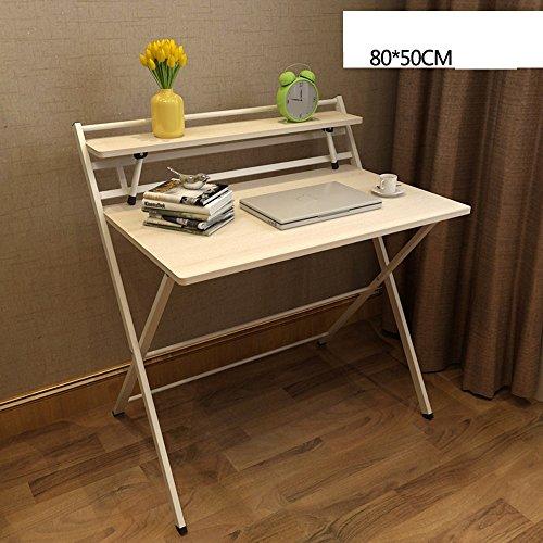 ZHIRONG Simple table pliante pour ordinateur portable, bureau table d'étude, table à manger, étagères de rangement, L80 x W50 * H 93 CM (Couleur : B)