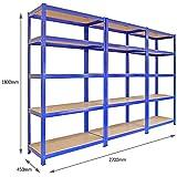 T-Rax Regalsystem / Werkstattregal / Lagerregal, Stahl, für schwere Lasten, 5Etagen, 3Einzelelemente, Blau