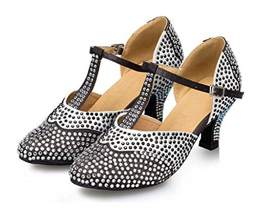 Minitoo Chaussures de danse pour femme en Satin avec strass Noir - noir