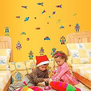 Ufengke cartoon roboter raketen und raumschiffe diy wandsticker kinderzimmer babyzimmer - Amazon kinderzimmer ...