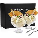 Andrew James Dessertgläser | Eisbecher aus Glas für Eis Trifle und Andere Desserts | 2 Dessertschalen und 2 Langstielige Löffel aus Edelstahl in einem Eleganten Geschenkbox