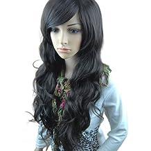 MelodySusie® schwarze lange lockige Perücke - hohe Qualität lange lockige Perücke inkl. Perückenkappe und Perückenkamm (schwarz)
