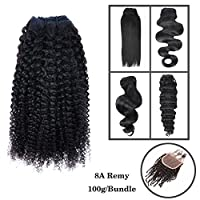 "(Can be Dyed) 8""-30"" 8A 100g 1 Bundle (DISCOUNT ON 3 BUNDLES)100% Remy Virgin Brazilian Human Hair Unprocessed Natural Black Color Double Weft Human Hair Weave Extensions Kinky Curly 16"""