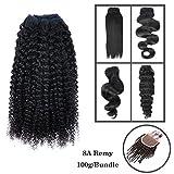 8-30 Pouces 1 Bundle(3 Bundles promotion) 8A 100% Bresilien Cheveux humains Vierges Cheveux Humains Weave 100g Extensions capillaires/ Noir naturelle Kinky Curly Boucles 50cm(20')