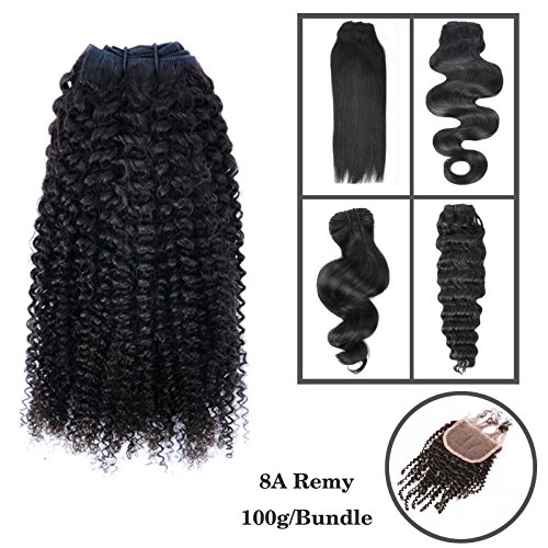 "Beyond Your Thoughts 8A 100% Echthaar Tressen zum einnähen 1 Stück Haartressen human hair weft Extension Schwarz Brazilian REMY VIRGIN Haartressen Lockig Kinky Curly 45cm(18"")"