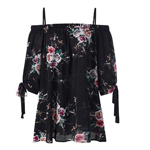 Overdose Mode Damen Sommer Schulterfrei Oberteile T Shirt Plus Size Blumendruck Bluse Casual Tops Camis(Schwarz,XXL)